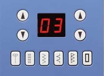 Voici l'écran LCD de la machine à coudre CONFIDENCE 7465 qui indique le numéro du point